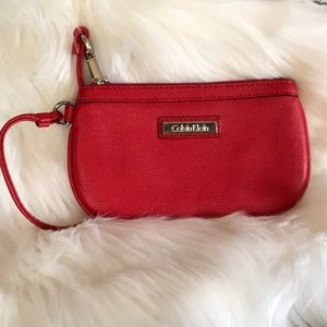 CK red leather wristlet